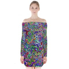 Colorful Abstract Paint Background Long Sleeve Off Shoulder Dress