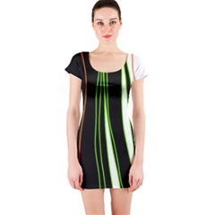 Colorful lines harmony Short Sleeve Bodycon Dress