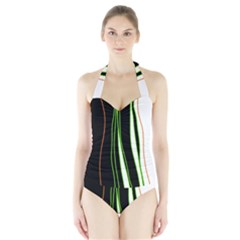 Colorful lines harmony Halter Swimsuit
