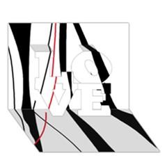 Red, white and black elegant design LOVE 3D Greeting Card (7x5)
