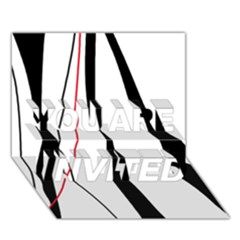 Red, white and black elegant design YOU ARE INVITED 3D Greeting Card (7x5)