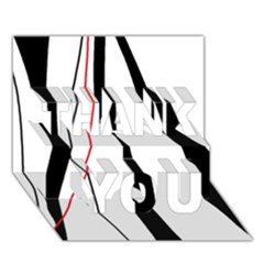 Red, white and black elegant design THANK YOU 3D Greeting Card (7x5)