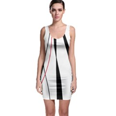 Red, white and black elegant design Sleeveless Bodycon Dress