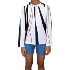 Red, white and black elegant design Kids  Long Sleeve Swimwear