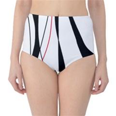 Red, white and black elegant design High-Waist Bikini Bottoms