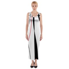 Red, white and black elegant design Fitted Maxi Dress