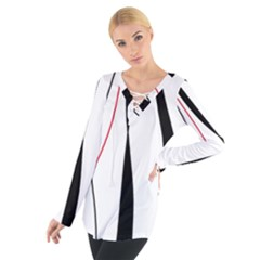 Red, white and black elegant design Women s Tie Up Tee