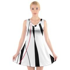 Red, white and black elegant design V-Neck Sleeveless Skater Dress