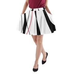 Red, white and black elegant design A-Line Pocket Skirt