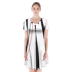 Red, white and black elegant design Short Sleeve V-neck Flare Dress