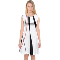 Red, White And Black Elegant Design Capsleeve Midi Dress