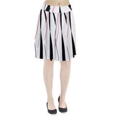 Red, white and black elegant design Pleated Skirt