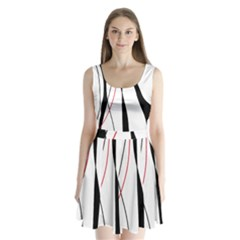 Red, white and black elegant design Split Back Mini Dress