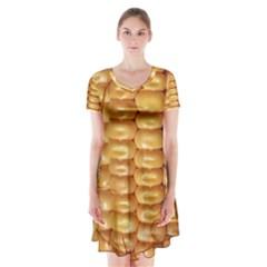 Corn Pattern Agriculture Natural Short Sleeve V-neck Flare Dress