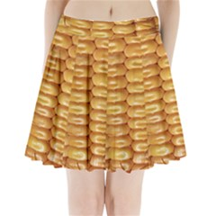 Corn Pattern Agriculture Natural Pleated Mini Skirt