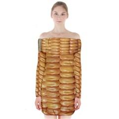 Corn Pattern Agriculture Natural Long Sleeve Off Shoulder Dress