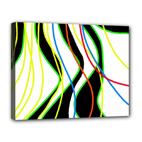 Colorful lines - abstract art Canvas 14  x 11