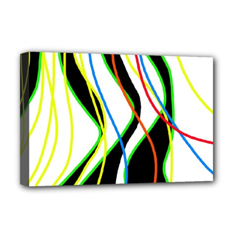 Colorful lines - abstract art Deluxe Canvas 18  x 12