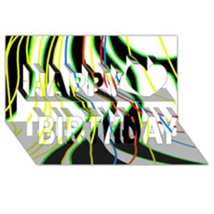 Colorful lines - abstract art Happy Birthday 3D Greeting Card (8x4)