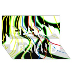 Colorful lines - abstract art Best Friends 3D Greeting Card (8x4)