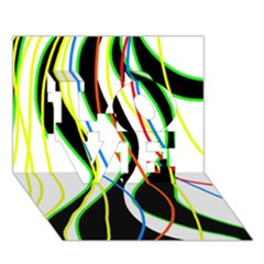 Colorful lines - abstract art LOVE 3D Greeting Card (7x5)