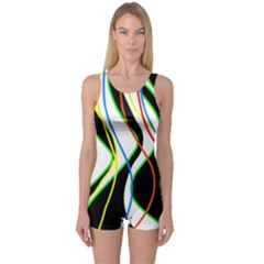 Colorful lines - abstract art One Piece Boyleg Swimsuit