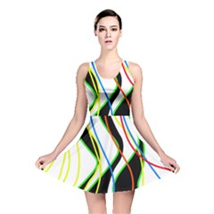 Colorful lines - abstract art Reversible Skater Dress