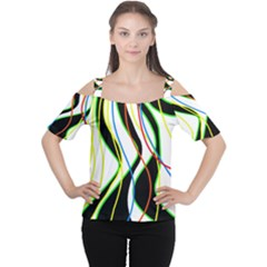 Colorful lines - abstract art Women s Cutout Shoulder Tee