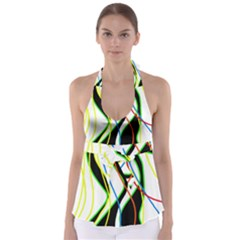 Colorful Lines   Abstract Art Babydoll Tankini Top