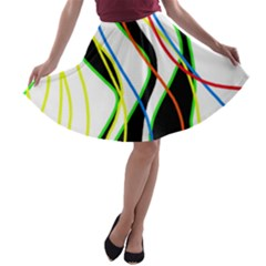 Colorful lines - abstract art A-line Skater Skirt