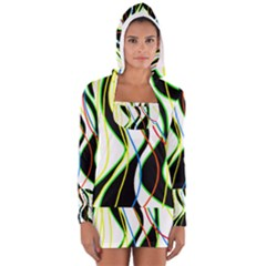 Colorful lines - abstract art Women s Long Sleeve Hooded T-shirt