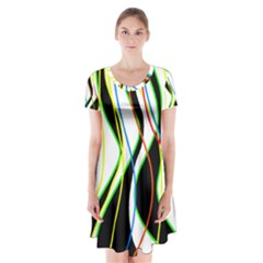 Colorful lines - abstract art Short Sleeve V-neck Flare Dress