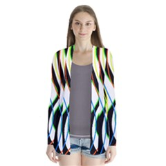 Colorful Lines   Abstract Art Drape Collar Cardigan