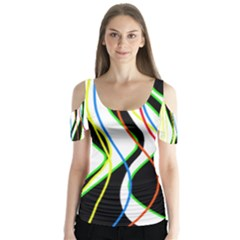 Colorful Lines   Abstract Art Butterfly Sleeve Cutout Tee