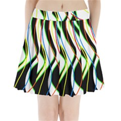 Colorful Lines   Abstract Art Pleated Mini Skirt