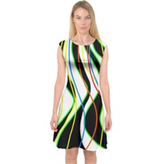 Colorful lines - abstract art Capsleeve Midi Dress