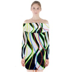 Colorful lines - abstract art Long Sleeve Off Shoulder Dress