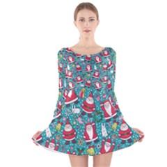 Cute Christmas Seamless Pattern Vector Long Sleeve Velvet Skater Dress