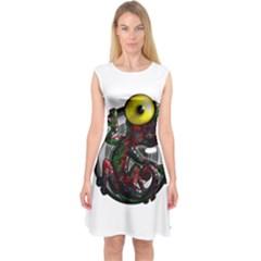 Cute Lizard Capsleeve Midi Dress