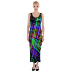 Electronics Board Computer Trace Fitted Maxi Dress