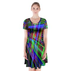 Electronics Board Computer Trace Short Sleeve V-neck Flare Dress