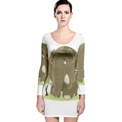 Elephant Animal Jungle Savannah Long Sleeve Velvet Bodycon Dress