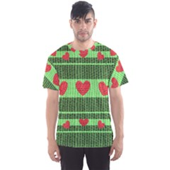 Fabric Christmas Hearts Texture Men s Sport Mesh Tee