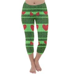Fabric Christmas Hearts Texture Capri Winter Leggings