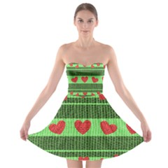 Fabric Christmas Hearts Texture Strapless Bra Top Dress