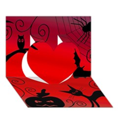 Halloween landscape Heart 3D Greeting Card (7x5)