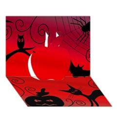 Halloween landscape Apple 3D Greeting Card (7x5)