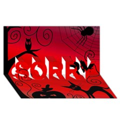 Halloween landscape SORRY 3D Greeting Card (8x4)