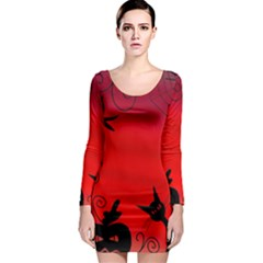 Halloween landscape Long Sleeve Bodycon Dress