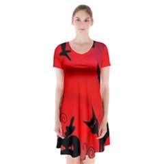 Halloween landscape Short Sleeve V-neck Flare Dress